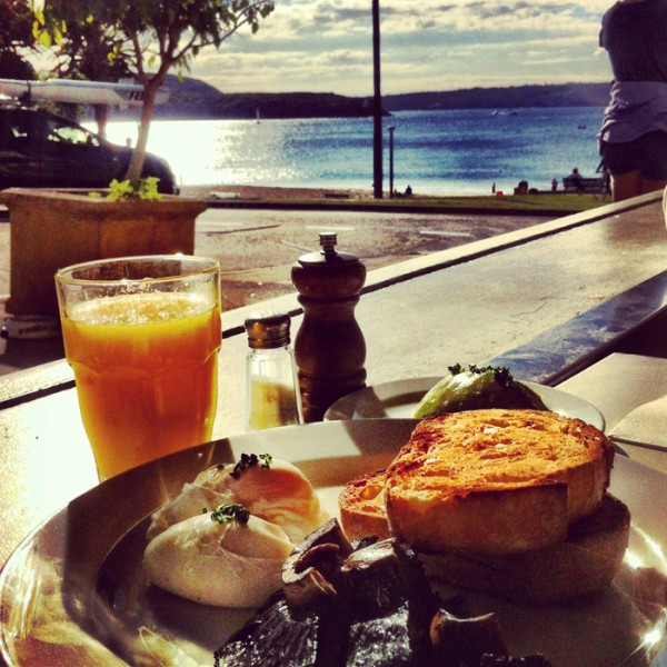 Breakfast with a view at Awaba Cafe.