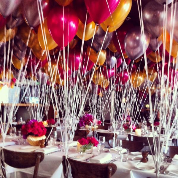 The decorations at Otto Ristorante for Cosmopolitan's 40th birthday celebrations.