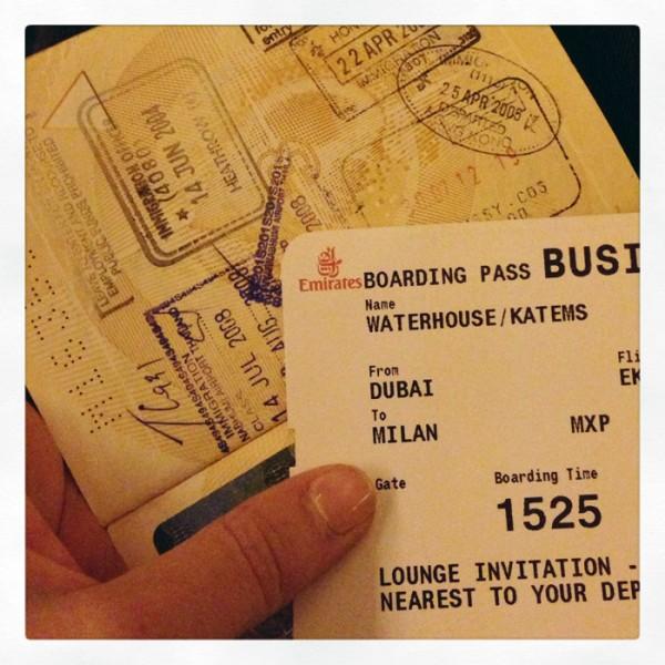 Boarding Qantas/Emirates flight from Australia to Milan.