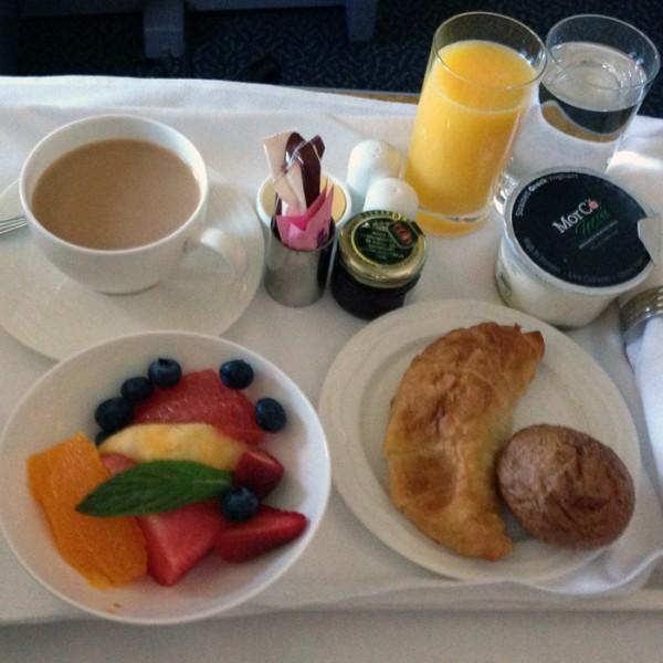 Breakfast onboard Qantas/Emirates flight.