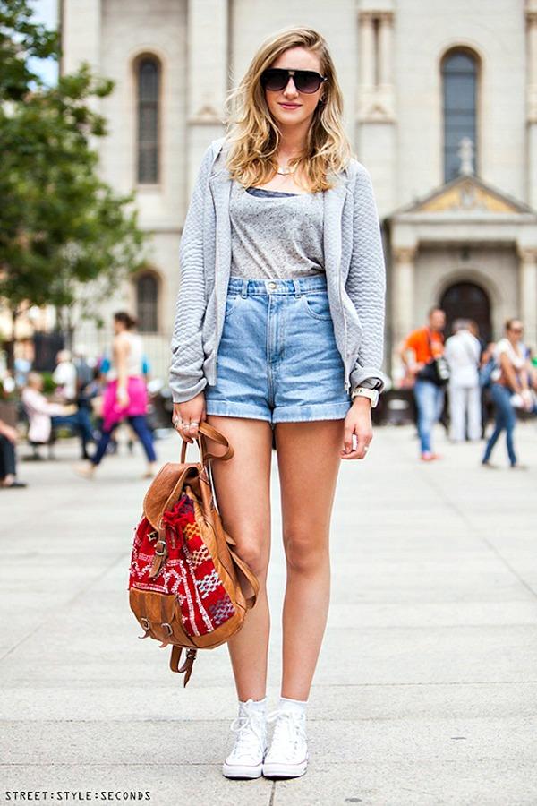 Denim shorts street style seconds 2
