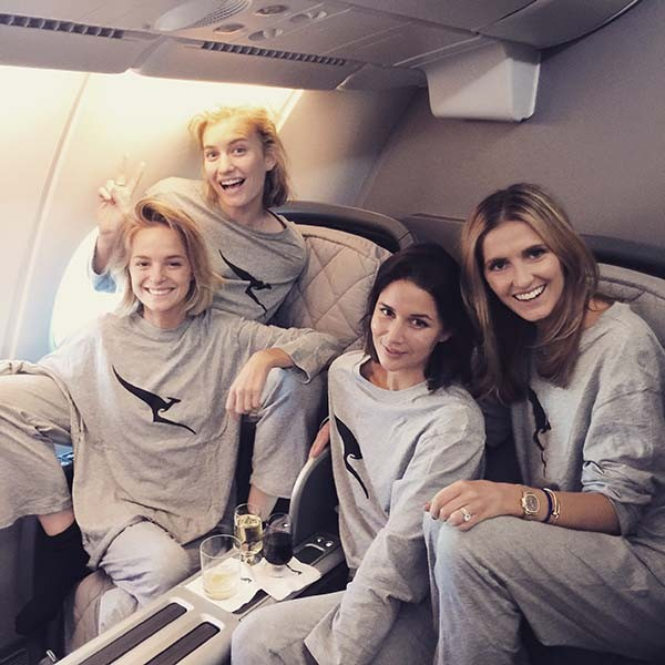 Pyjama Party! With the girls in our Qantas PJ's.