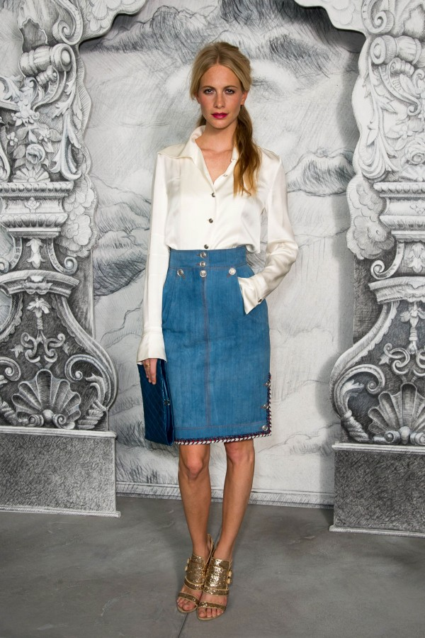 Poppy-Delevigne-gave-denim-skirt-chic-makeover-silky-white