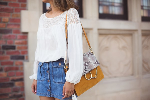 aimee_song_white_flowy_blouse_denim_skirt_chloe_suede_bag