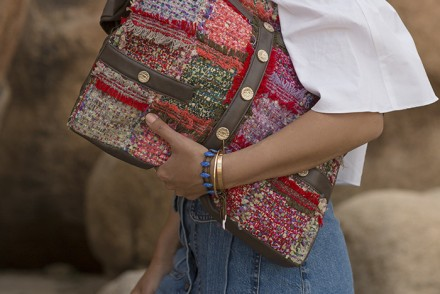 aimee_song_off_the_shoulder_top_chanel_girl_bag_denim_button_down_skirt