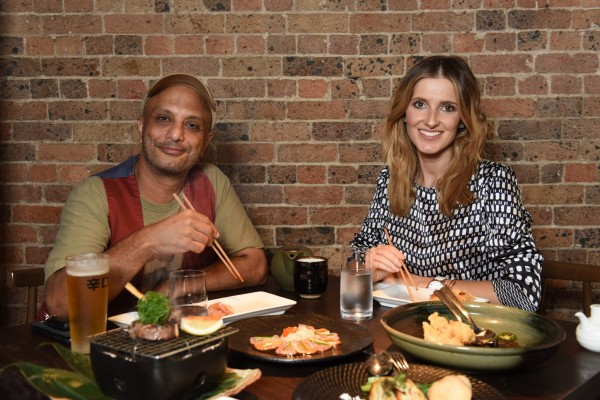 Funny man Akmal Saleh and I enjoying a Japanese feast at Sake