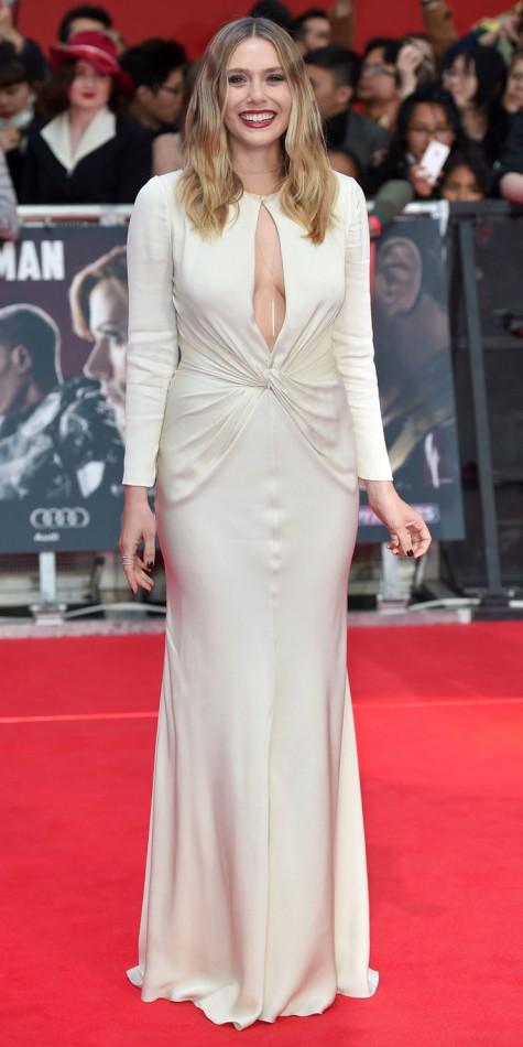"LONDON, ENGLAND - APRIL 26:  Elizabeth Olsen arrives for European film premiere ""Captain America: Civil War""  at Vue Westfield on April 26, 2016 in London, England  (Photo by Karwai Tang/WireImage)"