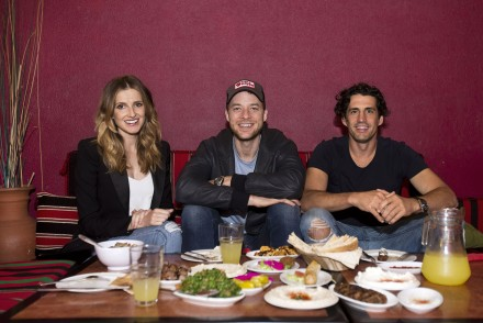 Date with Kate. Hamish Blake (centre) and Andy Lee (right), at Abdul's in Surry Hills. Thursday 5th May 2016. Photo: Ryan Stuart