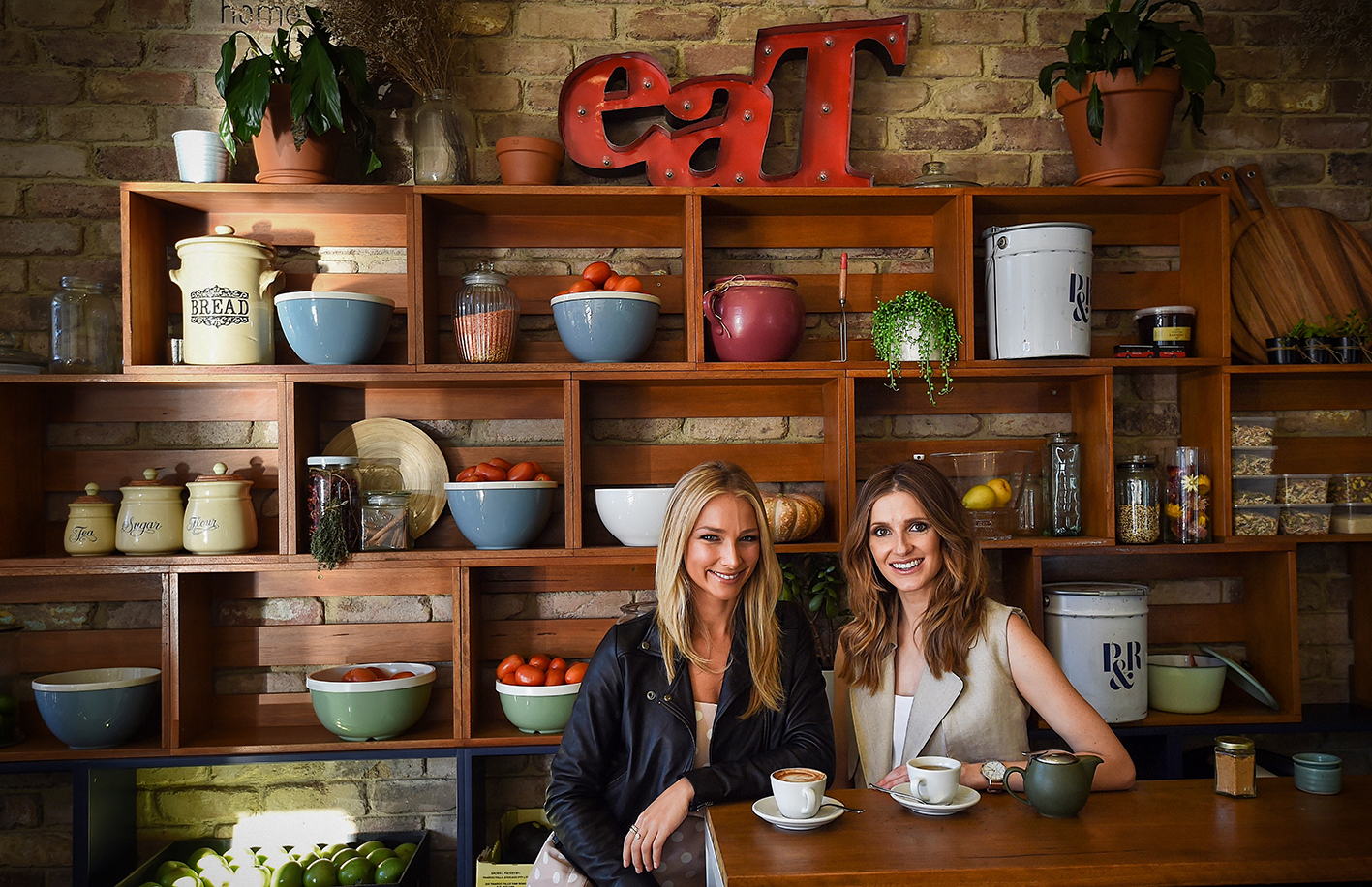Anna Heinrich (left) with Kate Waterhouse (right) at Wild Basket in Neutral Bay, Sydney. 28th June, 2016. Photo: Kate Geraghty