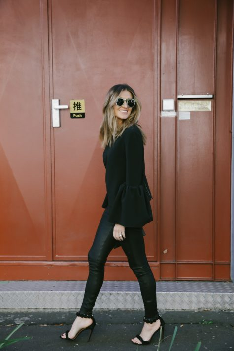 Kate Waterhouse farfetch LXE black leather pants alaia heels roksanda saint laurent sunglasses