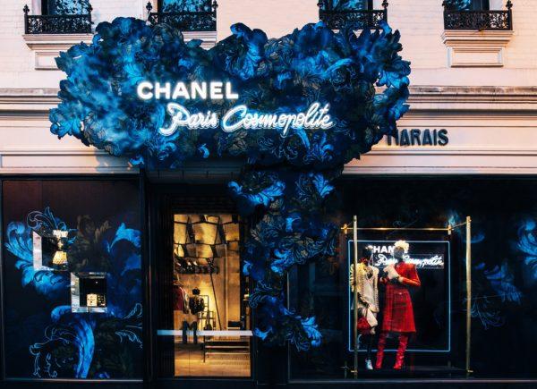 Chanel at Marais pop-up boutique store front Melbourne