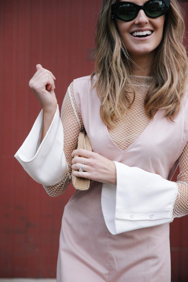 Kate Waterhouse kowtow dress dusty pink poms sunglasses