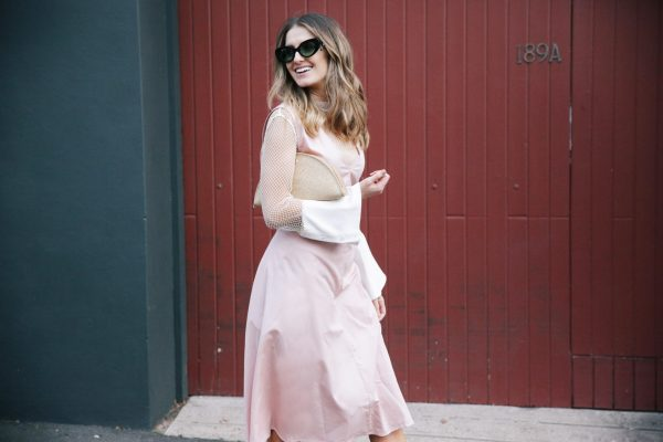 Kate Waterhouse kowtow dress dusty pink helen kaminski clutch christopher esber shirt 7