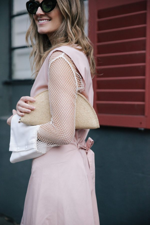 Kate Waterhouse kowtow dress dusty pink poms sunglasses helen kaminski clutch