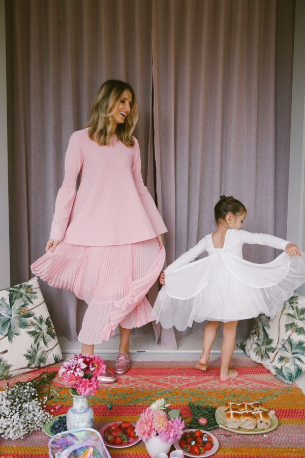 Kate Waterhouse with daughter Sophia wearing Seed